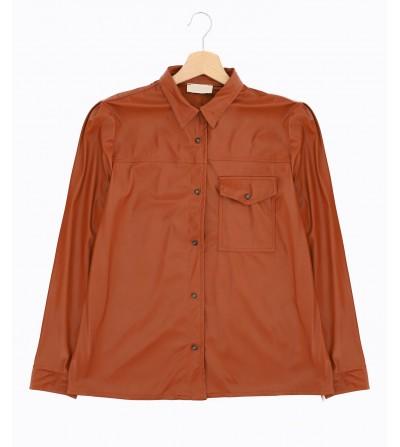 Camisa Polipiel Coñac