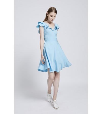 Vestido Volante Azul Celeste