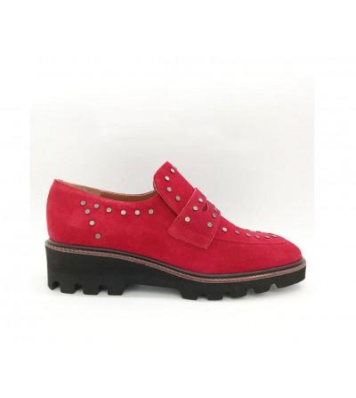 Zapato Mocasín Ante Rojo
