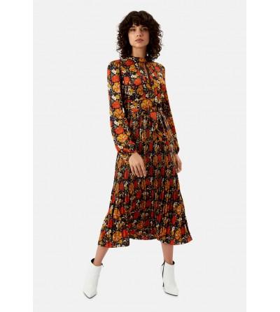 Vestido Midi Floral Plisado