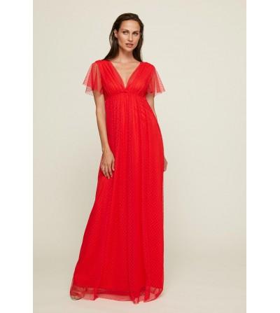 Vestido Largo Plumeti Rojo