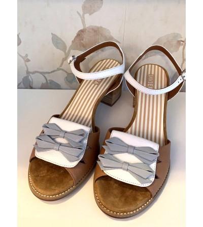 Sandalia Piel Combinada Lazos
