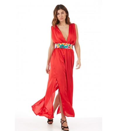 Vestido Satén Rojo